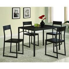 Give your dining area a chic, contemporary upgrade with this simple five-piece dining set. Finished in a dark cappuccino, this metal and wood set features a sleek table with subtly curved chairs for added comfort.