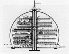 Buckminster Fuller, Fountain Factory: The 90 Percent Automatic Cotton Mill, Project at North Carolina State College, 1952  TC and the geodesic  crew desin- not fuller