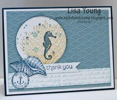 """STAMPS: By the Tide, French Foliage, Made for You. CARD STOCK: Whisper White, Not Quite Navy (retired), Baja Breeze(retired). Ink: Not Quite Navy (retired), Baja Breeze (retired), More Mustard (retired) OTHER: 2-1/2"""" Circle Punch, sponge, Scallop Circle Punch, Big Shot, Fancy Fan EF, Basic Rhinestones."""