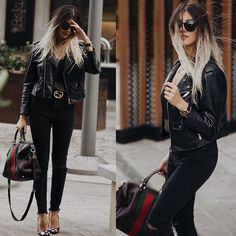 Get this look: http://lb.nu/look/8733409  More looks by NigarN: http://lb.nu/nigarn  Items in this look:  Gucci Bag, Zara Leather Jacket, Flavio Castellani Starry Shoes, Stradivarius Silky T Shirt, Zara Super Hight Wasted Black Jeans   #casual #chic #classic #zara #gucci #flaviocastellani #stradivarius #rayban #sunglasses