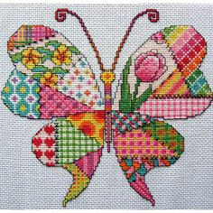 Gorgeous patchwork Butterfly Pattern    Finished image measure 7 x 7.5 inches on 14 count aida... Contains only whole cross stitches and