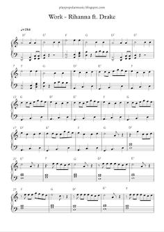 play popular music, Work, Rihanna, Drake, free piano sheet music