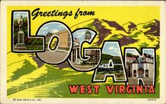 Greetings from Logan WV Postcard