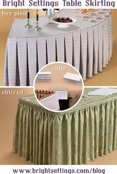 Table Skirts come in box pleat or shirred style with clips for easy installation