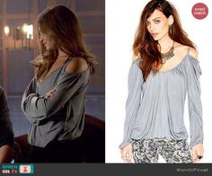 Davina's red suede jacket and cold shoulder top on The Originals.  Outfit Details: http://wornontv.net/45043/ #TheOriginals