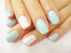 DIY nail art design, blue, gold dots #nailart