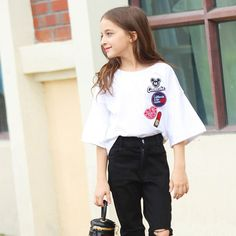2016 Summer Teenage Baby Girls Clothing Mandarin Flare Sleeves T shirts for Kids Age 5 6 7 8 9 10 11 12 13 14T Years Old Clothes-in Tees from Mother & Kids on Aliexpress.com | Alibaba Group