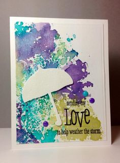 scattered showers: PTI, love showers: wplus9, smooshing technique, by beesmom - Cards and Paper Crafts at Splitcoaststampers