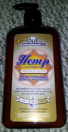 "Malibu ""Hemp"" Golden Glow Skin Firming Bronzing Moisturizer 18oz by Malibu. Save 10 Off!. $17.99. With CoQ10 to moisturize, firm and reduce wrinkles. ""Hemp Golden Glow"" Professional Skin Care. With Virgin (THC-FREE) Hemp Seed Oil for ultra Moisturization. 18 fL oz (530mL). Moisturize your way to a healthy glow and toned skin year-round. Formulated with a pinch of DHA, your skin receives a kiss of color which will subtly deepen over about a week of use for a natural, soft, tone."