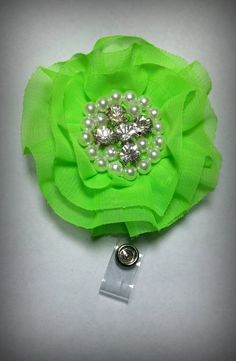 Hey, I found this really awesome Etsy listing at https://www.etsy.com/listing/238592162/neon-green-chiffon-flower-badge-reel-id