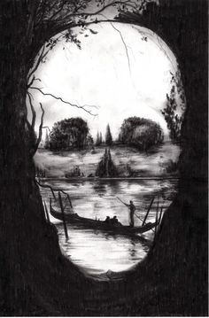 Fantastic painting of a skull with people out for the day on the lake for a canoe ride. A beautiful representation of optical illusion art! Illusion Kunst, Illusion Art, Illusion Drawings, Art Noir, Natur Tattoos, Totenkopf Tattoos, Foto Art, Skull And Bones, Optical Illusions