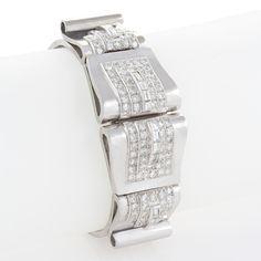 French art deco  bdiamond bracelet witrh detachable clips c. 1930's