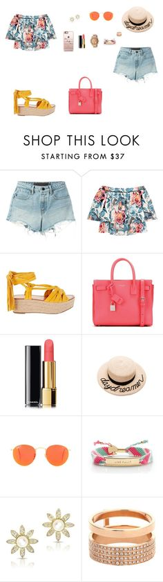 """Look do Dia"" by julianaf121 ❤ liked on Polyvore featuring Alexander Wang, Elizabeth and James, Sigerson Morrison, Yves Saint Laurent, Chanel, Eugenia Kim, Ray-Ban, Kate Spade, Repossi and Movado"