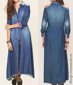 """Длинная джинсовая рубашка """"Кантри"""" - тёмно-синий,орнамент,этно,джинсовая рубашка"""
