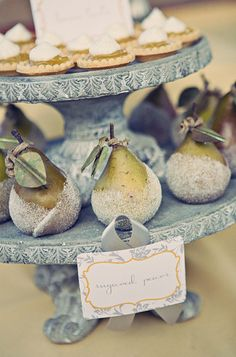 sugared pears...lovely faded color palette, don't you think? (via Amy Atlas)