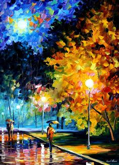 """Blue Moon 2 — PALETTE KNIFE Modern Oil Painting of Night Park On Canvas By Leonid Afremov - Size: 30"""" x 40"""" (75cm x 100cm)"""
