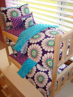 For Jones: 10-Piece Turquoise Courtney Bedding Set for American Girl Doll Bunk Bed