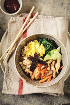 Easier Bibimbap With Brown Rice, Tofu Or Eggs, Sautéed Shiitakes, Kimchi, And Spiced Nori | Pickles and Tea