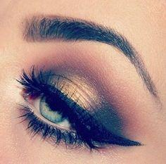 luxury golden-black make up for blue eyes