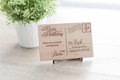 Wooden Birthday Postcard With Balloons Stamp  6 By