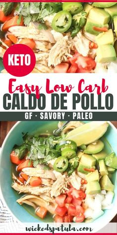 A step-by-step guide for how to make chicken Caldo de Pollo! This Chicken Caldo de Pollo recipe (Mexican soup) is so EASY and cook time is only 30 minutes. Mexican Soup Recipes, Easy Paleo Dinner Recipes, Easy Whole 30 Recipes, Best Paleo Recipes, Low Carb Chicken Recipes, Whole30 Recipes, Mexican Dishes, Quick Recipes, Delicious Recipes