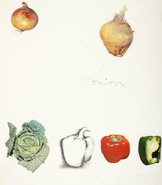 Jim Dine, Jim Dine, Untitled (Vegetables), lithograph with collage, 1970, 1970