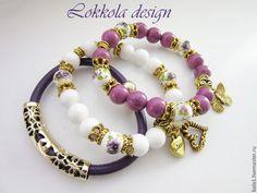 """Купить Сет """"Фиалка"""" - брусничный, сиреневый, фиолетовый, белый, цветы, цветочный, цветок, браслет"""