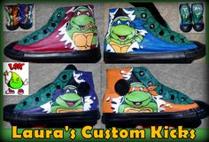 Custom Tmnt Teenage Mutant Ninja Turtle shoes hand painted converse black high tops going to Canada.