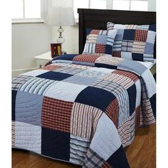 Bradley Red/ Blue Patch 3-piece Quilt Set | Overstock.com