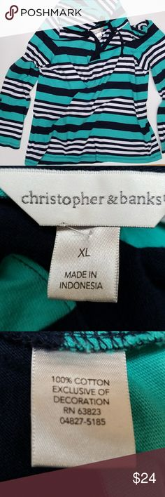 """Christopher & Banks Hoodie Christopher & Banks Hoodie. Size XL, blue and white stripes, long sleeves, drawstring hoodie, sleeves will button up to 3/4 length.  Measurements: Back from neckline length approximately 25"""" Armpit to armpit back approximately 22"""" Shoulder to shoulder back approximately 18 1/2"""" Sleeve length from shoulder approximately 25"""" Christopher & Banks Tops Sweatshirts & Hoodies"""