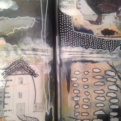 Tina Jensen Art Studio - Textile and Collage work. Art Studios, Collage Art, Embroidery Stitches, Fiber Art, Blues, Paper, Fabric, Art Journaling, Mixed Media