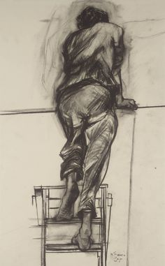 Peter De Francia (1921‑2012) Figure on a Ladder, 1953 Charcoal and graphite on paper