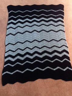 Gege's Fibonacci's Blue Wave afghan - using Fibonacci numbers to generate stripe sequence & widths.  #crochet #blanket #throw