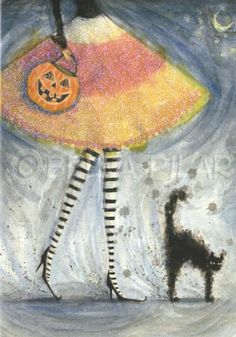 BELLA PILAR SCARDEY CAT PUMPKIN HALLOWEEN FASHION ILLUSTRATION LEGS WATERCOLOUR