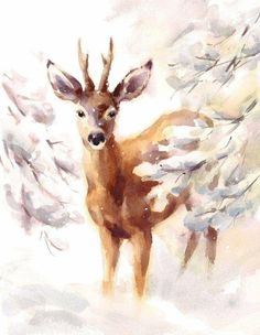 Watercolor illustration of a Deer walking by in a beautiful snowy woods. Watercolor Christmas Cards, Christmas Drawing, Christmas Paintings, Christmas Art, Hirsch Illustration, Deer Illustration, Watercolor Illustration, Watercolor Deer, Watercolor Animals