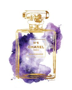 Watercolour Chanel No5 print 8x10 Purple watercolor by hellomrmoon