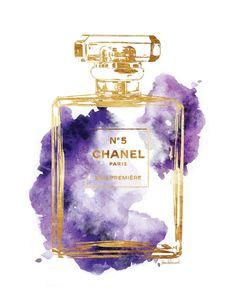 Watercolour Chanel No5 print 8x10 Purple watercolor by hellomrmoon