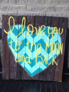 Wood Reclaimed Fence Chevron Heart I Love You by MandyBrajDesigns, $45.00