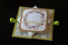 handmade card ... fabulous fold ... spring card ... ribbon handles to pull it apart so the center will spring up ... fun card!!