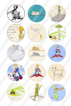 Le Petit Prince Digital Collage 1 inch round sheet 4x6 195 | nanistore - Graphics on ArtFire