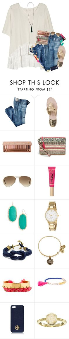 """don't worry, i can laugh at my own jokes"" by preppy-southern-gals ❤ liked on Polyvore featuring Clu, AG Adriano Goldschmied, Jack Rogers, Urban Decay, Big Buddha, Ray-Ban, Too Faced Cosmetics, Kendra Scott, Kate Spade and Alex and Ani"