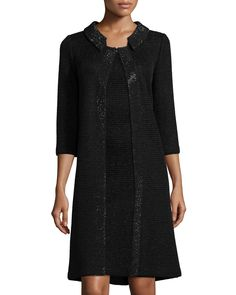 St. John Collection Allure Knit 3/4-Sleeve Topper Coat, Caviar
