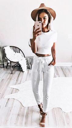Blue + white striped pants.