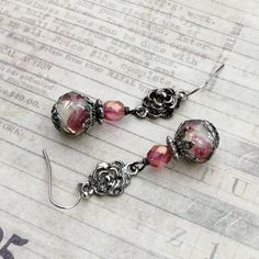Grey Earrings Pink Earrings Flower Earrings by SmockandStone
