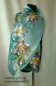 Hand painted silk shawl pleasantly refreshes monochrome clothes, keeps the body warm in cold weather. Silk is nice gentle to your skin, creates a