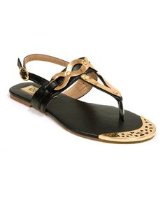 Look at this Black & Gold Twist Sandal on #zulily today!