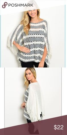 "Adorable Fall fringe Poncho Lightweight, cozy open-knit poncho style pullover with fringe trim. Featuring a flattering boat neckline and wide sleeves for a perfectly warm layer over leggings or jeans. 100% Acrylic 25"" Front length/50"" W boutique Sweaters Shrugs & Ponchos"