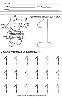 """ATIVIDADES PARA TREINO DA ESCRITA DOS NUMERAIS DE 1 A 5 ~ """" Cantinho do Educador Infantil """""""