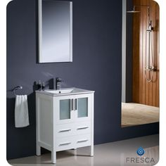 "Fresca FVN6224WH-UNS Torino 24"" Modern Bathroom Vanity in White with Undermount Sink - Vanity Top Included"