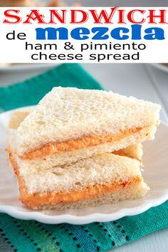 Easy recipe for Sandwich de Mezcla, a Puerto Rico favorite! The ham and pimiento cheese spread is so yummy! Comida Boricua, Boricua Recipes, Pimento Cheese Recipes, Pimiento Cheese, Yummy Snacks, Yummy Food, Yummy Recipes, Cake Recipes, Salads